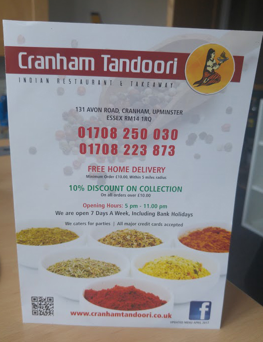 Home Page - Cranham Tandoori Indian Restaurant & Takeaway